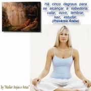 Meditando com tela de Anjos
