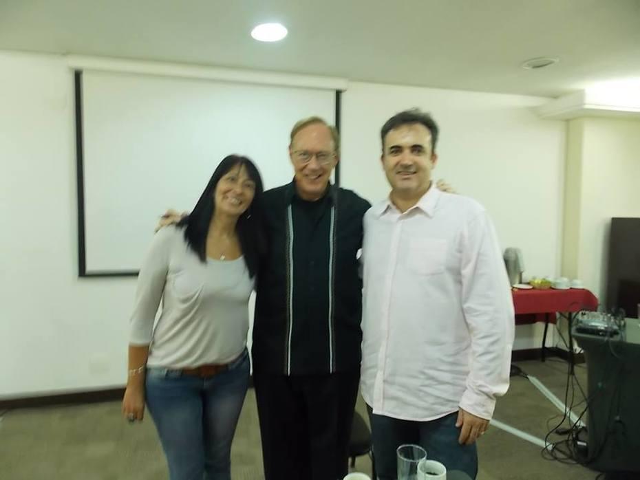 Eu com Lee Karrol e Gustavo Amorim em abril de 2014,