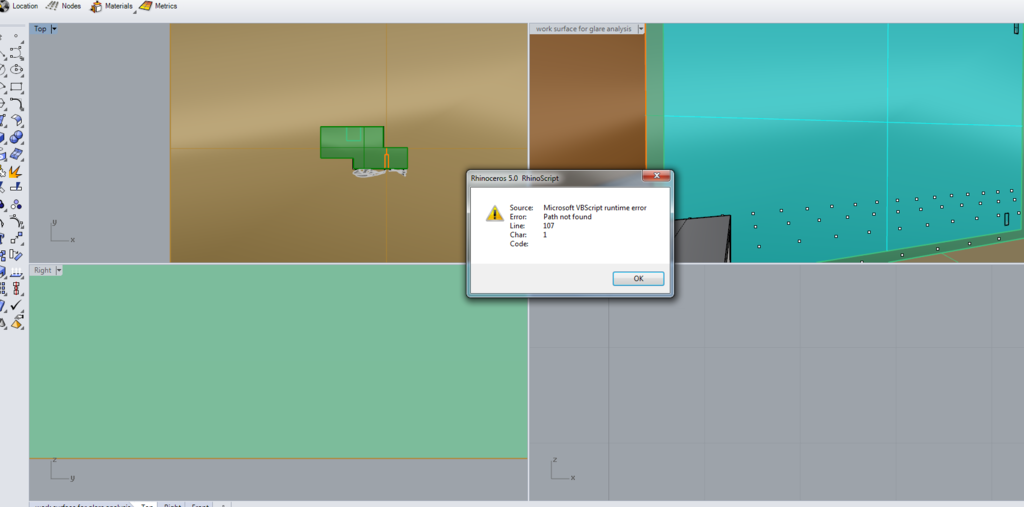 Microsoft VBScript runtime error line 107 - DIVA for Rhino