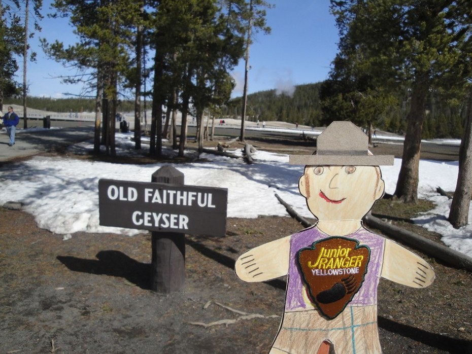 Flat Stanley at Old Faithful