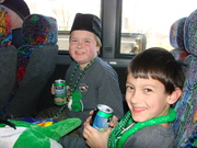 Hanging out in the bus before the parade