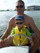 Driving my boat with Daddy