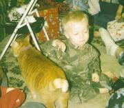 Jacob getting ready to pet Morris