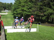Elite Men's leaders - Mike Wissink (Specialized), Tim Sari (Essex Brass), and Jeff Weinert (Team GIANT - Michigan) up the sledding hill