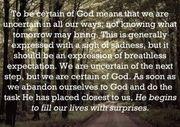 certain of God