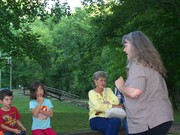 Granny Sue telling stories in the parks