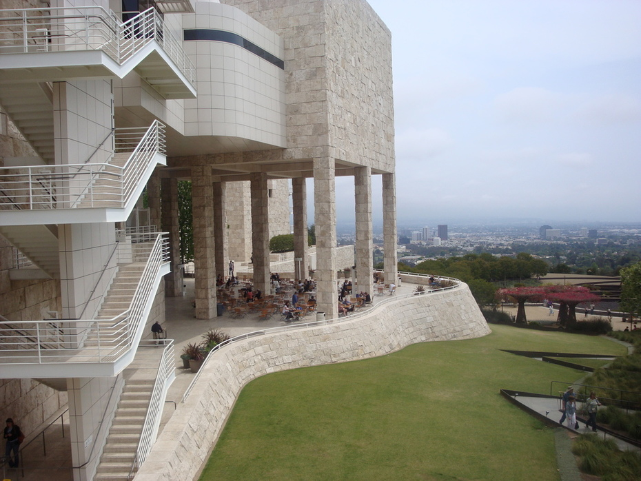 J. Paul Getty museum and L.A. backdrop