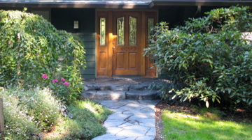 Front entry way hand built rock