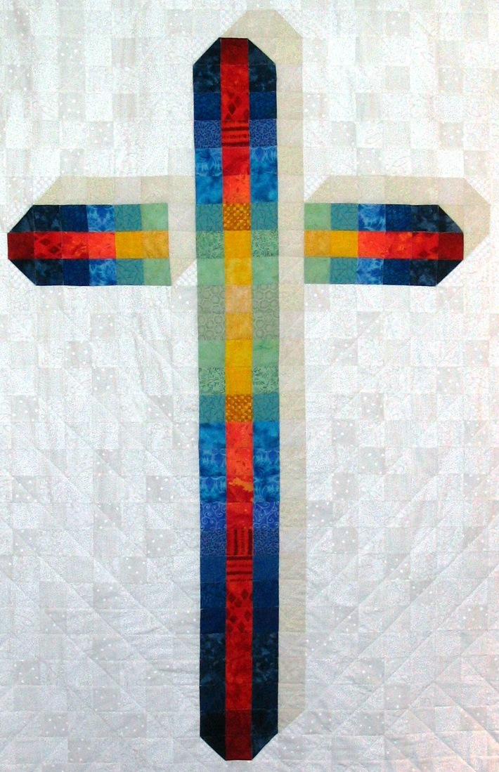 """Stained Glass"" quilted cross"
