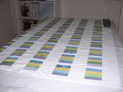 Pin Basting Chinese Coin crib quilt