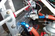 engine, fuel rail, flowmeter and pressure guage