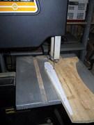 Rudder tip form block sawing