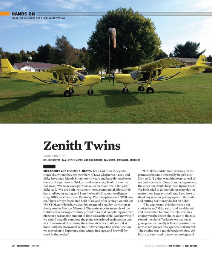 Zenith Twins in the April issue of SPORT AVIATION magazine