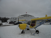 STOL CH 701 on snow skis