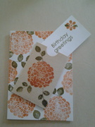 fall birthday card -birthday note card comes out of envelope