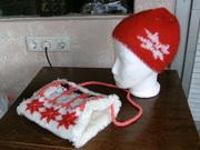 Mütze, MUff rot,weiß