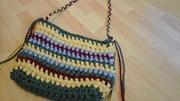 gehäkelte Tasche  aus Textilgarn