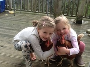 The Farm Girls with their beloved hens.