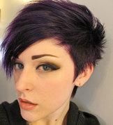 Deep Purple Hair, Black and Bronze Shadow with Nude Lipstick!