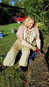 Dianne's first day back in to the garden
