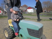 Riding the little tractor