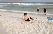 Bradley enjoying the sand.