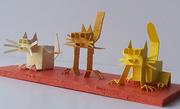 Papercraft. 3 cats. Miniature model.