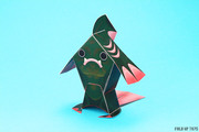 Fingar the fish monster paper toy - Front