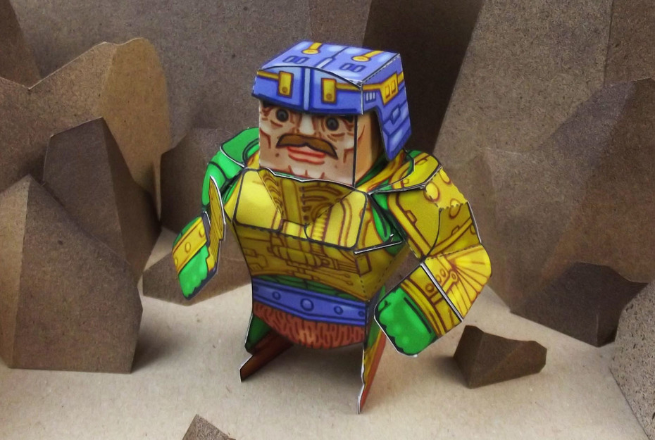 Eternians Man-At-Arms Fan Art Paper Craft Toy - Front