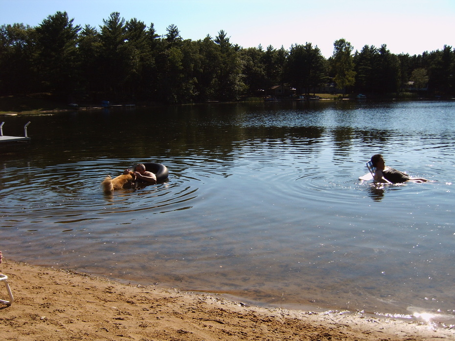 IMG00025-Wife Maggie,Son Wayne and Dog,Dolly Swimming in Lake