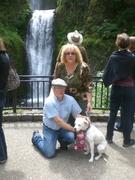 Joe, Judi, and Dog at Multnomah Falls