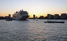Cruise ship at sunset-Port of Tampa