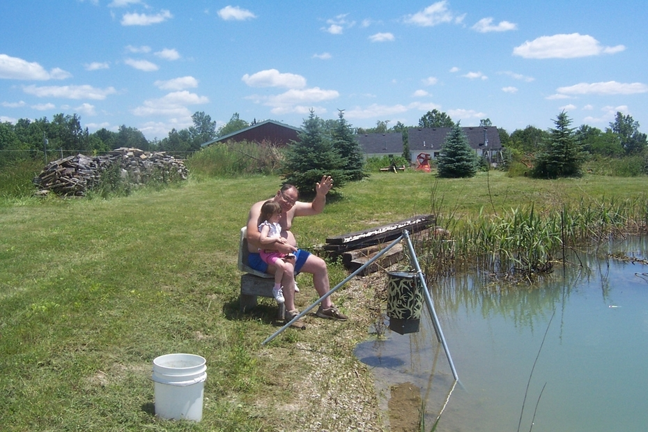 Cheyenne and I fishing our pond