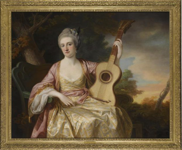 Lady Waldegrave with a 6 course guitar