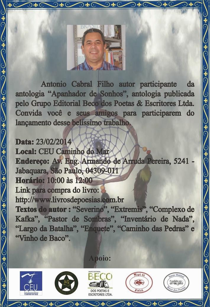 APANHADOR DE SONHOS ANTOLOGIA # ANTONIO CABRAL FILHO - RJ 2014