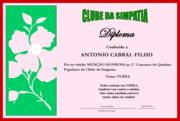 DIPLOMA DO CLUBE DA SIMPATIA 2012 # ANTONIO CABRAL FILHO - RJ