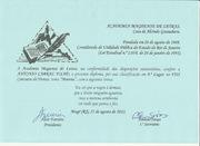 DIPLOMA DA ASSOCIAÇÃO MAGEENDE DE LETRAS - RJ