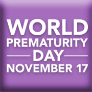 Purple background with World Prematurity Day text
