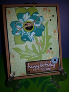 Bday card with canvas resist embellishment