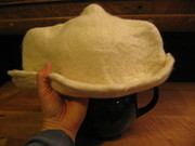 Tea cozy fits easily atop the tea pot