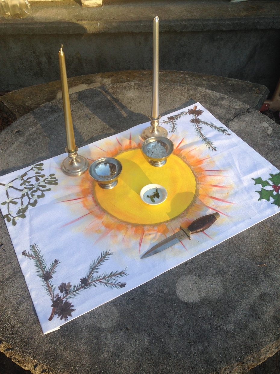 Painted Yule altar cloth