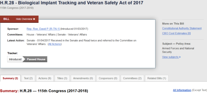 H R 28 - 115th Congress (2017-2018): Biological Implant