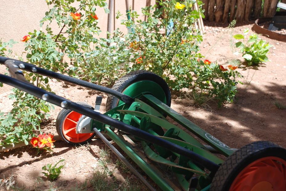 My green Scotts classic push mower.