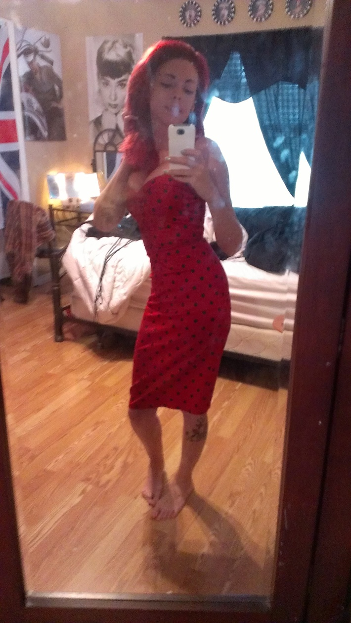 Red With Black Dots Vamp Dress