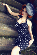 Deadly Dames Polkadot Wiggle Dress black