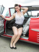 Tahitia's Psychobilly Halter Top in White and Black Polka Dots