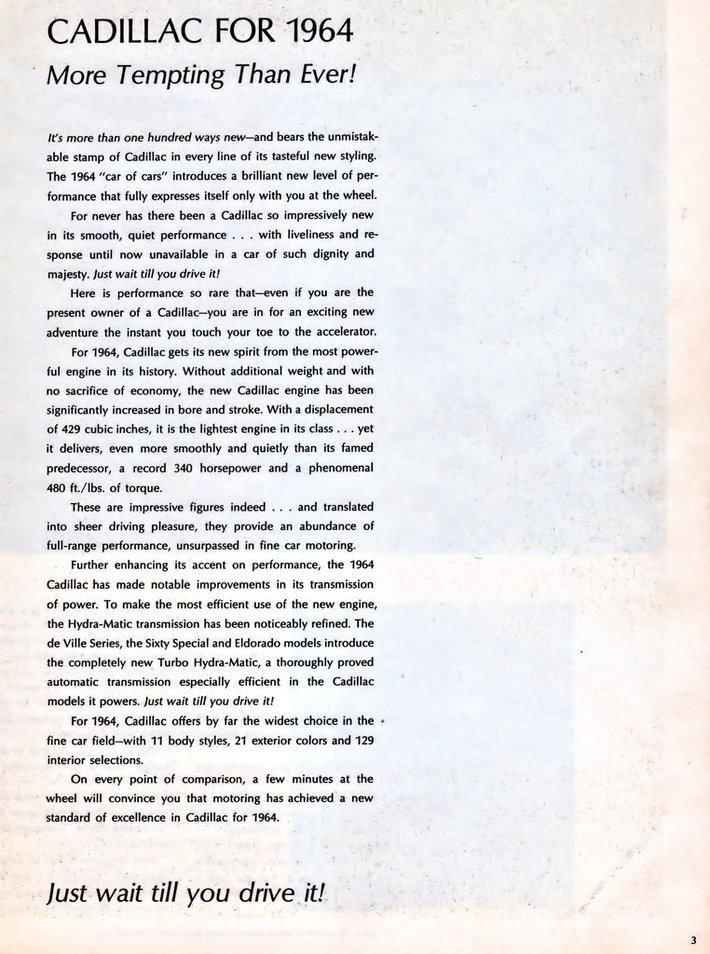 1964 Cadillac Brochure Page 3