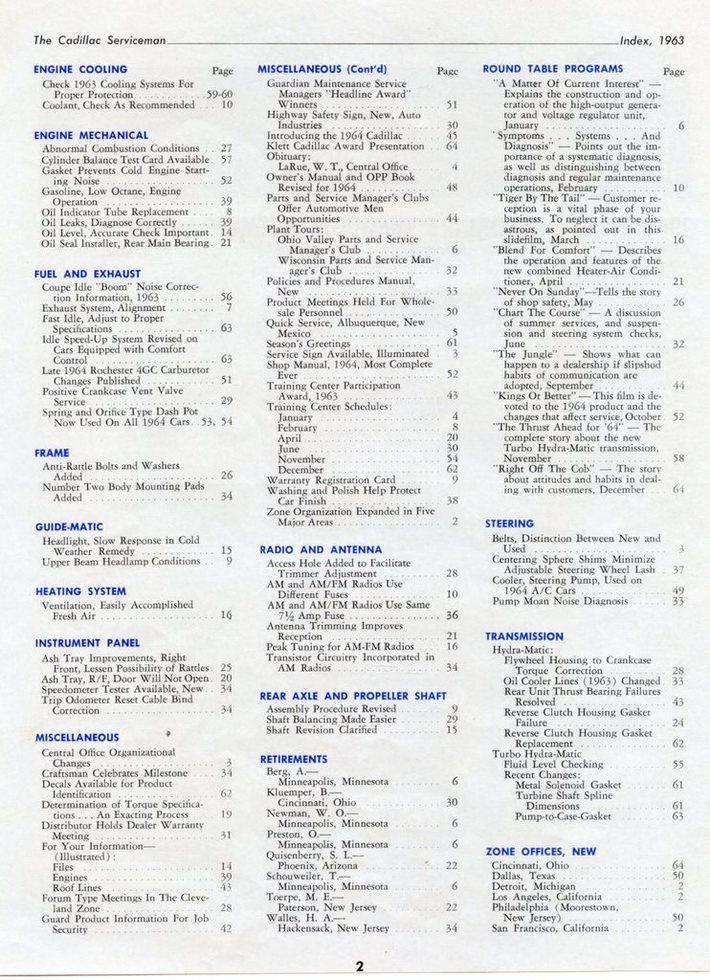 1963 Cadillac Serviceman Index pg 2