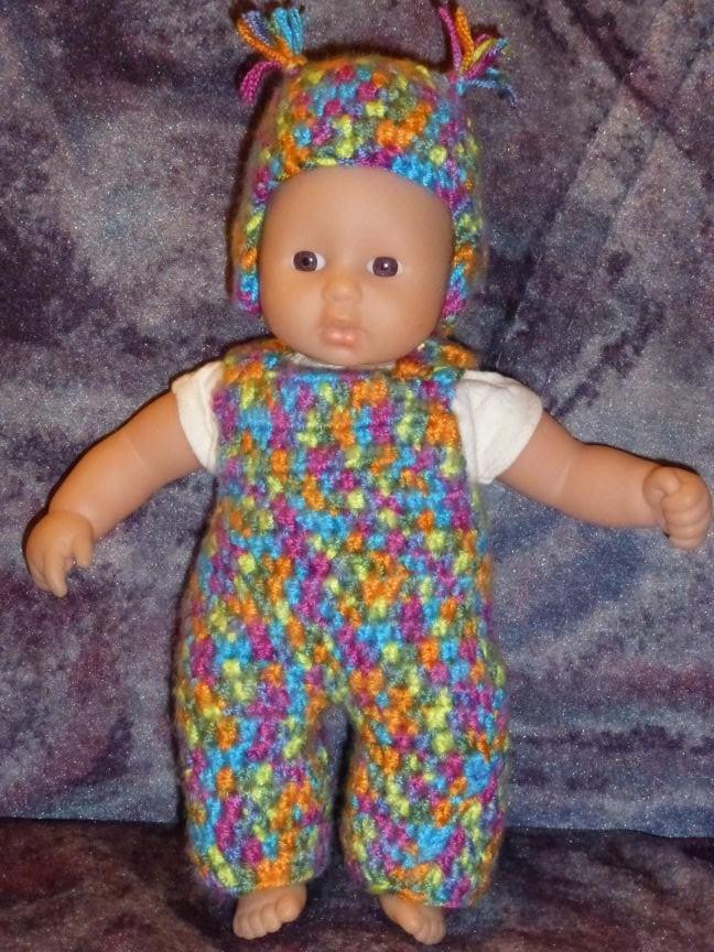 Mütze und Latzhose gehäkelt für Mini Babyborn 21 cm