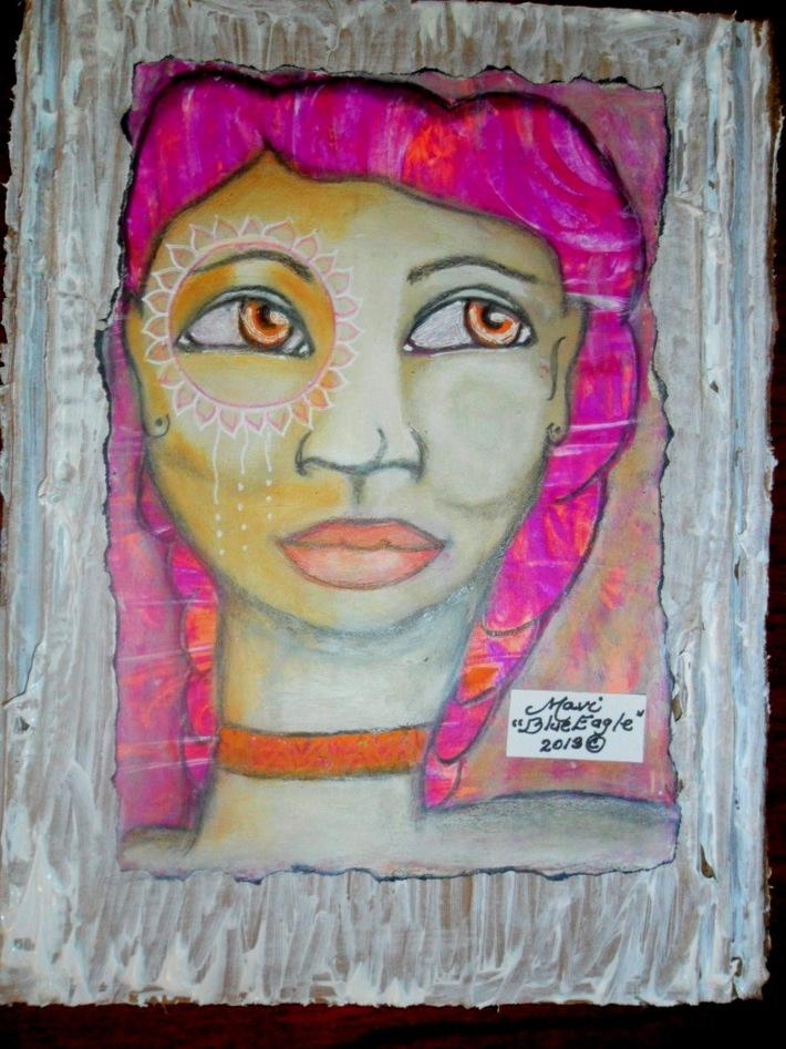 Week #4-  White Catrina.-Painted on Gelli Prints!